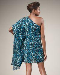 Jay Godfrey Blue Hopper One-sleeve Leopard-print Dress