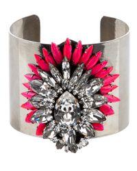 Shourouk | Metallic Crystal Flower Cuff | Lyst
