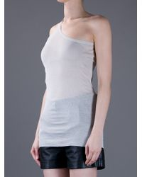 Rick Owens Gray One Strap Vest Top