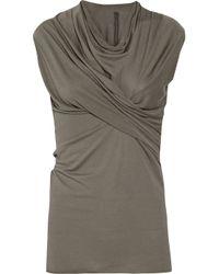 Rick Owens Lilies | Gray Asymmetric Jersey Top | Lyst