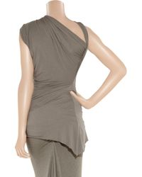 Rick Owens Lilies - Gray Draped Cross-over Jersey Top - Lyst