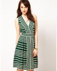 Whistles Green Whistles Border Stripe Dress