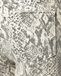 Current/Elliott - Gray Boa-print Skinny Jeans, Canvas - Lyst