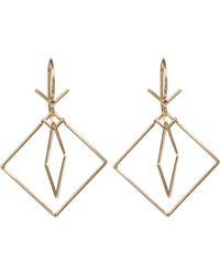 Dean Harris | Yellow Gold Double Square Earrings | Lyst