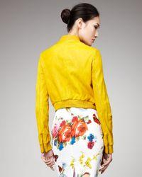 Dolce & Gabbana - Yellow Zip-pocket Leather Jacket - Lyst