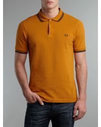 Fred Perry Yellow Slim Fitted Twin Tipped Polo Shirt for men