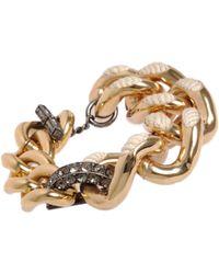 Lanvin - Metallic Gold Crystal Cord Gourmette Bracelet - Lyst