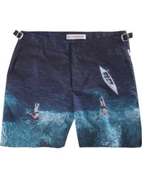 Orlebar Brown - Blue Deep Sea Anniversary Print Bulldog Trunks for Men - Lyst