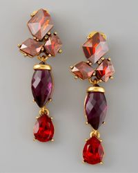 Oscar de la Renta | Red Crystal Drop Earrings | Lyst
