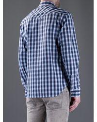 Balmain Blue Checked Shirt for men