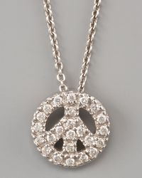 Roberto Coin | White Pave Peace Sign Necklace | Lyst