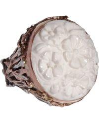Sandra Dini Metallic White Agate Ring