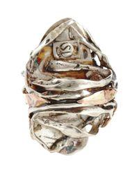 Sandra Dini Metallic Lava Pyrite Blue Opal Ring
