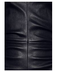 The Row Black Risting Ruched Leather Dress
