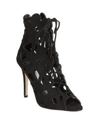 Manolo Blahnik | Black Kahikalo Caged Suede Bootie | Lyst