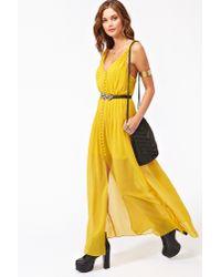 nasty gal landscape maxi dress in mustard yellow  lyst