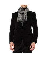 Richard James - Black Houndstooth Cashmere and Silk Blend Scarf for Men - Lyst