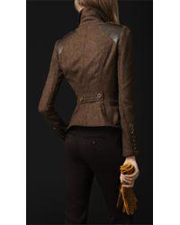 Burberry Prorsum Brown Leather Detail Herringbone Field Jacket