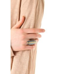 Elizabeth and James | Metallic Feather North South Ring | Lyst