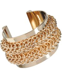 Givenchy Metallic Gold Metal Chain Cuff Bracelet