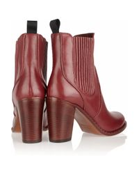 Marc By Marc Jacobs - Red Stackedheel Leather Ankle Boots - Lyst