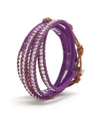 Chan Luu - Purple Preview Crystal Beaded Wrap Bracelet Grape - Lyst
