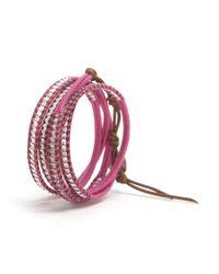 Chan Luu - Purple Crystal Beaded Wrap Bracelet Pink - Lyst