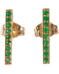 Jennifer Meyer - Yellow Emerald Long Bar Stud Earrings - Lyst