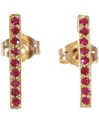 Jennifer Meyer Red Ruby Long Bar Stud Earrings