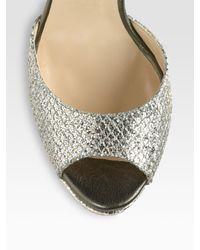 Jimmy Choo | Gold Linda Glitter Coated Leather Platform Sandals | Lyst
