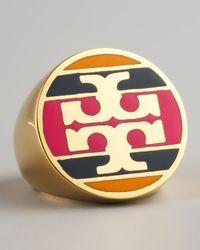 Tory Burch Metallic Enamel Striped Logo Ring Magenta