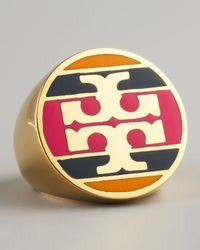 Tory Burch | Metallic Enamel Striped Logo Ring Magenta | Lyst