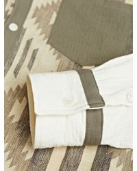 Sasquatchfabrix Natural Linen Blend Ikat Shirt for men