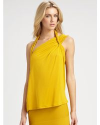 BCBGMAXAZRIA | Yellow Roslyn Abstract Halter Top | Lyst