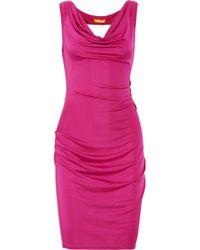 Catherine Malandrino | Pink Draped Silk Blend Dress | Lyst