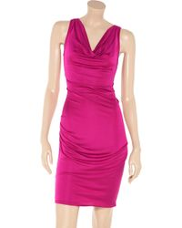 Catherine Malandrino   Pink Draped Silk Blend Dress   Lyst