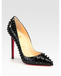 Christian Louboutin | Black Studded Patent Leather Pumps | Lyst
