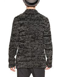 Iceberg Black Heavy Wool Knit Sweater Jacket for men