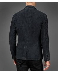 John Varvatos Blue Suede Military Jacket for men