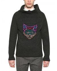 Burberry Prorsum | Gray Fox Detail Wool Cashmere Sweater for Men | Lyst
