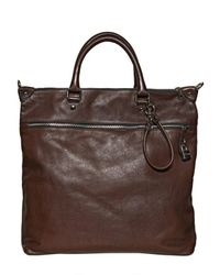 Dolce & Gabbana Brown Leather Lock Flat Tote Bag for men