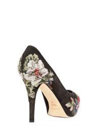Dolce & Gabbana Black 100mm Gisele Brocade Suede Pumps