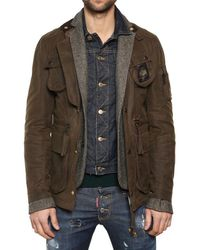 DSquared²   Green Mixed Triple Layer Long Boobou Jacket for Men   Lyst