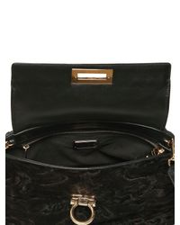 Ferragamo - Black Sofia Astrakhan Leather Top Handle - Lyst