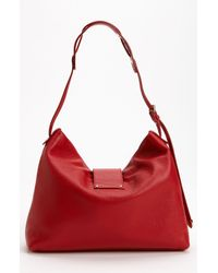 Jimmy Choo | Red Rachel Small Grainy Calfskin Leather Shoulder Bag | Lyst