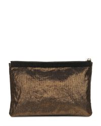Lanvin - Metallic Large Lanvin Laminated Canvas Clutch - Lyst