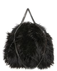 Stella McCartney Black Falabella Three Chain Faux Fur Bag