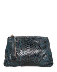 Zagliani Blue Large Bayan Leopard Print Python Clutch