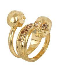 Alexander McQueen | Metallic Gold Amber Spiral Twin Skull Ring | Lyst