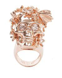 Alexander McQueen | Pink Rose Gold Crystal Butterfly Skull Ring | Lyst